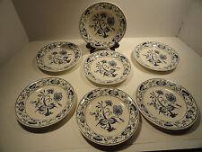 Vintage Royal Cina Blue Onion Doorn Underglaze Saucers set of seven