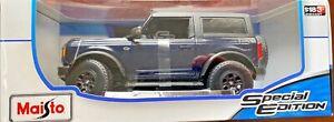 MAISTO 1/18 Diecast 2021 Ford Bronco Wildtrack BLACK #31456 New HTF Model
