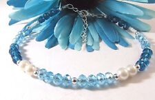 Czech Glass Pearl Anklet Blue Rondelle Crystal and