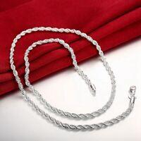 Necklace 925 Silver Necklace beautiful Women Chain Men Rope Twist Women