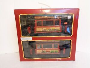 1988 LGB 2036 20th Anniversary 2 Trolley Set G Scale Railroad Train Set MIP