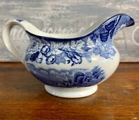 RARE  English Scenery Blue and White Transferware Creamer Enoch Woods Ware 1784
