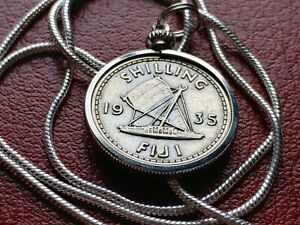 """1935 UK Territorial FIJI Silver Sailboat Shilling on a 24"""" Silver Round Chain"""