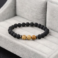 Fashion Men's 8mm Lava Rock Natural Stone Picture Jasper Beaded Yoga Bracelets