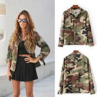 Fashion Women Casual Camouflage Canvas Long Sleeve Coat Winter Street Jacket
