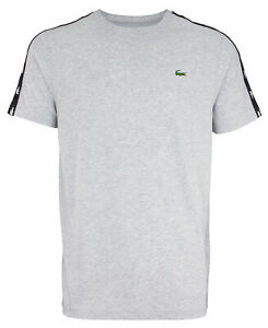 Lacoste Men's Taped Basic Tee, Silver Chine/Black