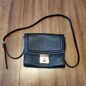 KATE SPADE Twist Lock Classic Flap Crossbody Shoulder Bag Black Pebbled Leather