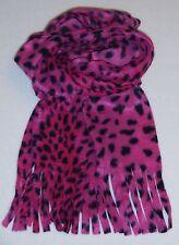 Süßer Fleece Schal für Mädchen - Pink mit schwarzen Leo Tupfen - pflegeleicht