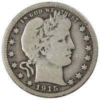1915 D Barber Quarter VG Very Good 90% Silver 25c US Type Coin Collectible