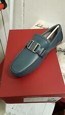 NIB Salvatore Ferragamo Sardegna Drivers Teal Vara Buckle Shoes 11 EEE Loafers