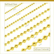 18K Gold Plated Stainless Steel Ball Chain Bracelet and Necklace Men Women 7-38""