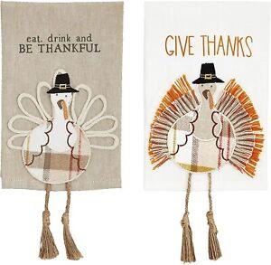 Mud Pie H1 Thanksgiving 21x14'' Turkey Dangle Leg Towel 41500230 Choose Design