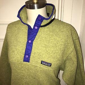 Green PATAGONIA Synchilla KIDS XL 14 Fleece Jacket Coat T Snap Boys Girls YOUTH