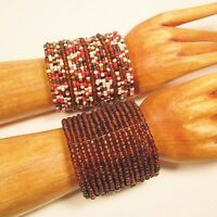 Set of 2 Orange Amber Wide Boho Handmade Statement Cuff Bracelets Bali Seed Bead
