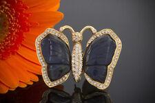 Schmuck Brosche Anhänger Schmetterling Labradorit Brillanten in 750er Gelbgold