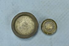 Antique SET of 2 STACKABLE BRASS NESTING SCALE WEIGHTS MERCANTILE TRADES #06475