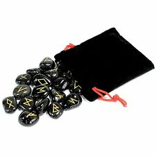 Natural Black Onyx Set of 25 Runes in Pouch Anglo-Saxon Elder Futhorc Pagan