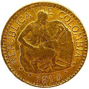 1919 DDO - Double Date - Colombia Gold 5 Pesos Coin KM #195.1- Rare Mint Error.