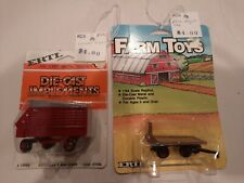 2 Ertl Farm Die-Cast Metal Implements 1/64 scale 1986 Wagon +1984 Spreader Wagon