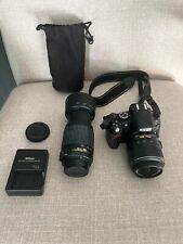 Nikon D5100 16.2MP Digital SLR Camera Black 18-55mm &  55-200mm Lens