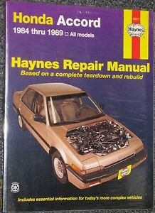Haynes Repair Manual 1984 - 1989 Honda Accord