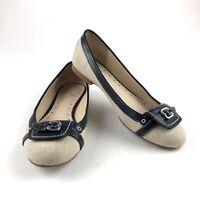 Brooks Brothers Women's Ballet Flat Slip On Shoes Cream Black Leather Trim Sz 5