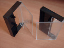 5  Audio cassette tape single black & clear cases - with pins