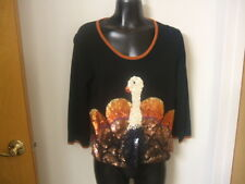 Michael Simon Event Sweater Top Thanksgiving Sequinned Turkey Rare Small 2004