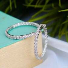 Certified 2.00Ct Inside-Out Diamond Hoop Dangle Earrings Solid 14k White Gold