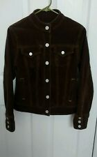Women's Size Small GAP Brown Stretch Cotton Blend Corduroy Trucker Jacket Coat
