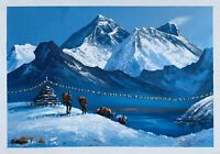 "MOUNT EVEREST VIEW FROM GOKYO LAKE ORIGINAL ARYLIC PAINTING ON CANVAS 15"" x 22"""