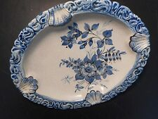 "BASSANO ITALIAN ""CRACKLE"" HAND PAINTED  POTTERY PLATE (OR ASHTRAY)  6 1/2"" X 8"""