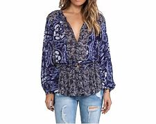 150176 New Free People Floral Patches Printed Shirt Tunic Top Large L