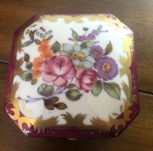 Antique Porcelain HAND PAINTED KPM Dresser Jewelry Trinket Box Gold Details