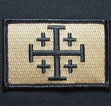JERUSALEM CROSS CRUSADER BRONZE JIHAD TACTICAL HOOK ARMY MORALE BADGE PATCH