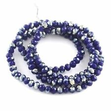 STRAND OPAQUE AB NAVY BLUE CRYSTAL FACETED RONDELLE BEADS~8mm~Bracelets 144