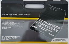 "Evercraft Hand Tools 774-0103 30 Pc. 1/4"" & 3/8"" Dr. Sae & Metric Socket Set"