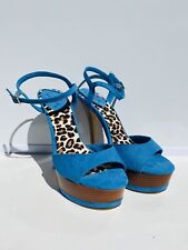 Luichiny Wooden Platform Stilettos Teal Blue With Leopard Print Footbed Size 6.5