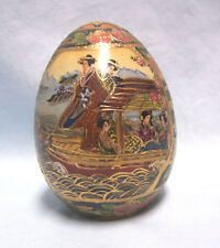 Decorative Egg Vintage Satsuma Japanese Collectible Egg Moriage Raised Gold
