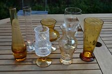 More details for 7 x vintage amber coloured clear glass vases c.1950s wedding event table job lot