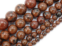 Natural Mahogany Obsidian Gemstone Round Beads 15.5'' 4mm 6mm 8mm 10mm 12mm
