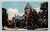 SPRINGFIELD IL ILLINOIS OLD VIEW OF THE FIRST CONGREGATIONAL CHURCH POSTCARD A3