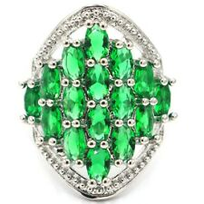 Romantic Green Emerald Ladies Engagement Silver Ring 7.0