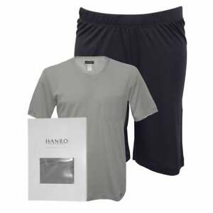 Hanro Night & Day Jersey T-Shirt & Shorts Men's Pyjama Set, Mineral Grey / Navy