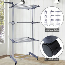 3 Tier Clothes Airer Dryer Rack Indoor Outdoor Laundry Foldable Dry Rail Hanger