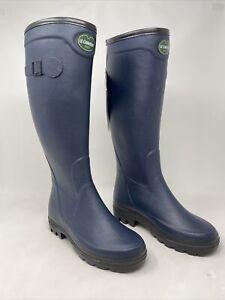 Le Chameau Women's Country Lady Rubber Rain Boots Bleu Blue Marine Size 5.5 US