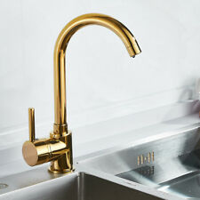 Modern Luxury Kitchen Sink Taps Hot & Cold Mixer Brass Gold Single Lever Faucet