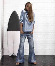NEW NWT One Teaspoon Ford Westenders Wide Leg Flare Jeans  25/0 hippie boho