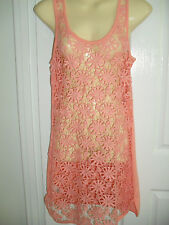 sz 18  PEACH CROCHET FRONT  LADIES BEACH COVER UP KNIT BACK TARGET BNWT $22