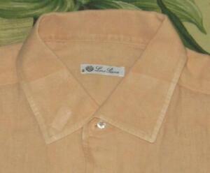 LORO PIANA Orange Linen Longsleeve Button Down Shirt Large L